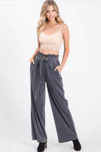 Allie Rose Corduroy High Waist Paper Bag Pants - Charcoal