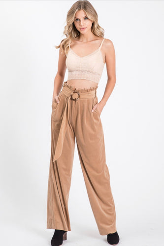 Allie Rose Corduroy High Waist Paper Bag Pants - Taupe
