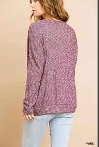Umgee Long Sleeve V-neck Top with Front Gathered Detail - Heathered Ribbed Wine