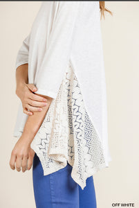 Umgee 3/4 Sleeve top with Lace Shark Bite Hem