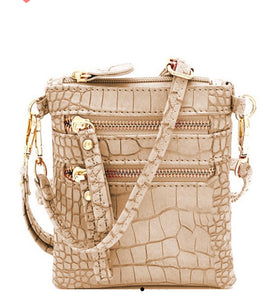 Crocodile Print Small Wristlet & Crossbody