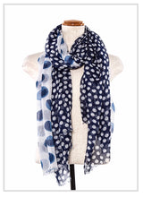 Load image into Gallery viewer, Polka Dotted Mix Fringe Oblong Scarf