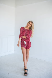 Risk It All Off Shoulder Romper- Terracotta