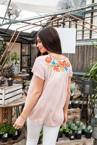 Floral Hints Embroidered Top