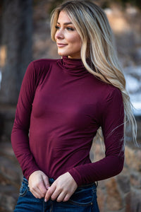 Enjoy The Journey Mock Neck Top - Burgundy