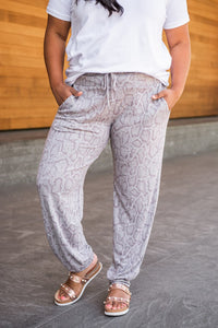 All In Gray Snake Print Joggers