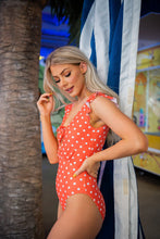 Load image into Gallery viewer, Citrus Dot Ruffle Sleeve Swimsuit