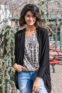 Turn A Look Cocoon Cardigan - Black
