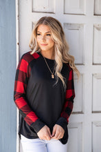 Load image into Gallery viewer, Cuddle Weather Red Plaid Top- Black