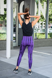Tie Dye Impression Active Leggings- Purple