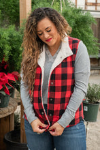 Load image into Gallery viewer, Feeling The Chill Buffalo Plaid Vest- Red and Black