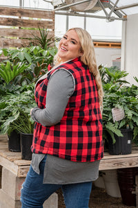 Feeling The Chill Buffalo Plaid Vest- Red and Black