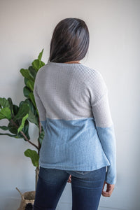Classy And Confident Color Block Top -Grey and Blue