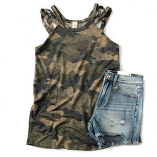 Load image into Gallery viewer, Camo Criss Cross Shoulder Tank