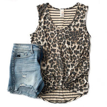 Load image into Gallery viewer, Chase Me Leopard Contrast Tank
