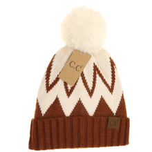 Load image into Gallery viewer, Chevron Beanie with Faux Fur Pom