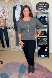 Chris & Carol Dolman 3/4 sleeve knit top - Charcoal
