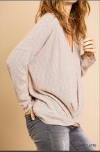 Load image into Gallery viewer, Umgee Long Sleeve V-neck Top with Front Gathered Detail - Heathered Ribbed Latte