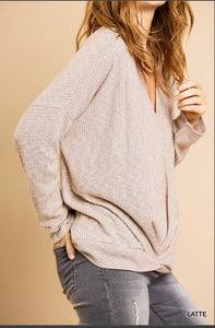 Umgee Long Sleeve V-neck Top with Front Gathered Detail - Heathered Ribbed Latte