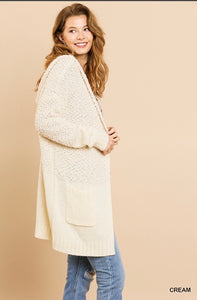 Umgee Hooded Popcorn Cardigan - Cream