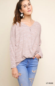 Umgee Long Sleeve V-Neck Heathered Knit Top with a Gathered Waist - Lt. Rose
