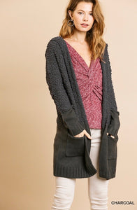 Umgee Hooded Popcorn Cardigan - Charcoal
