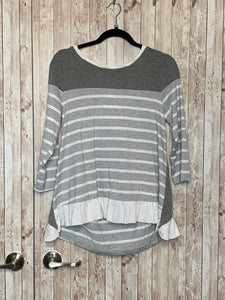 Umgee Grey and White Striped Top