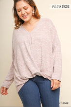 Load image into Gallery viewer, Umgee Long Sleeve V-Neck Heathered Knit Top with a Gathered Waist - Lt. Rose