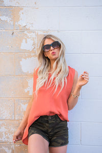 Worth A Shot Sleeveless Top- Ash Copper