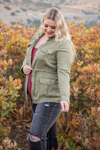 Twisted Military Jacket- Olive