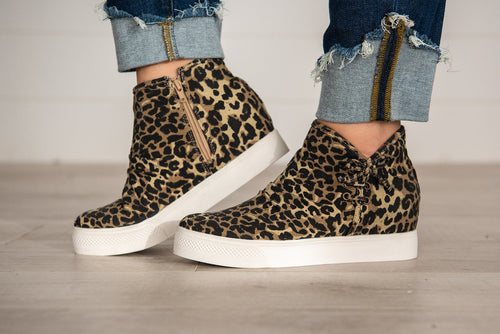 Angela Leopard Canvas Wedge Sneaker