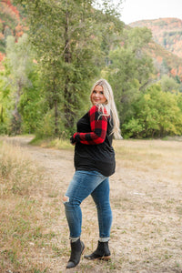 Cuddle Weather Red Plaid Top- Black