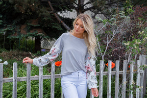 Garden Gal Contrast Top- Grey
