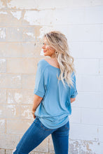 Load image into Gallery viewer, Season's Of Love Drape Top- Blue Grey