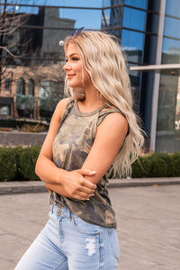 Camo Criss Cross Shoulder Tank