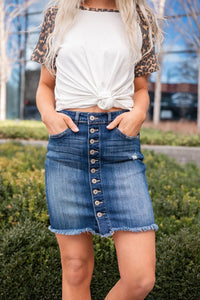 You Go Girl Button Up Denim Skirt- Medium Wash
