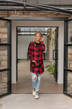 Load image into Gallery viewer, Perfectly Plaid Cardigan- Red and Black
