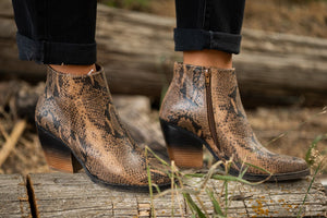 Two Tone Snakeskin Booties