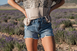 Dream High-Rise Shorts With Frayed Hem