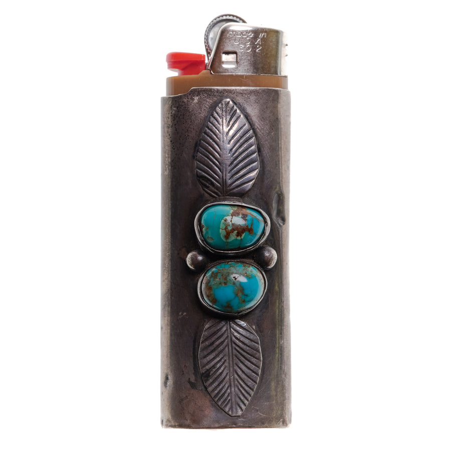1970s SILVER LEAF DOUBLE STONE LIGHTER SLEEVE