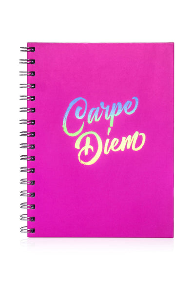 Hot Pink Spiral Notebook with Holographic: Carpe Diem (Seize the Day)