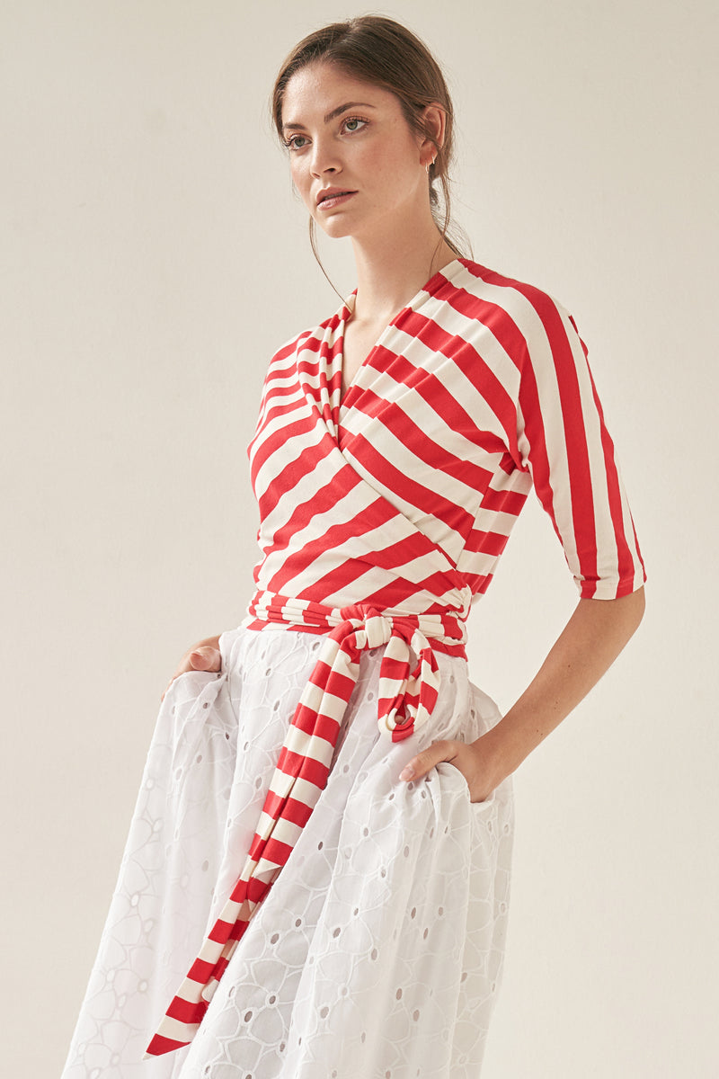 Wrap Top Red Striped