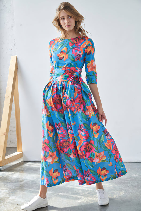 Floral Print Maxi Dress with Detachable Wide Belt