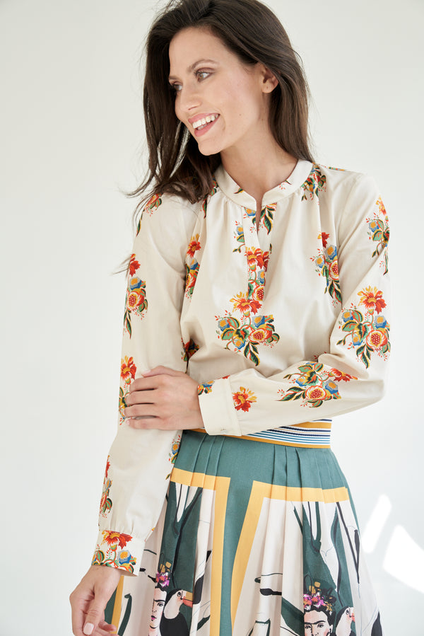 Tunic Blouse With Flower Print