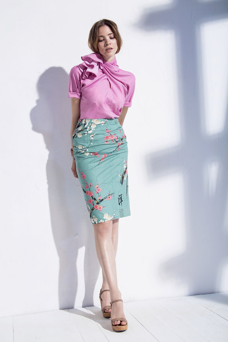 Pencil skirt with blossom print mint