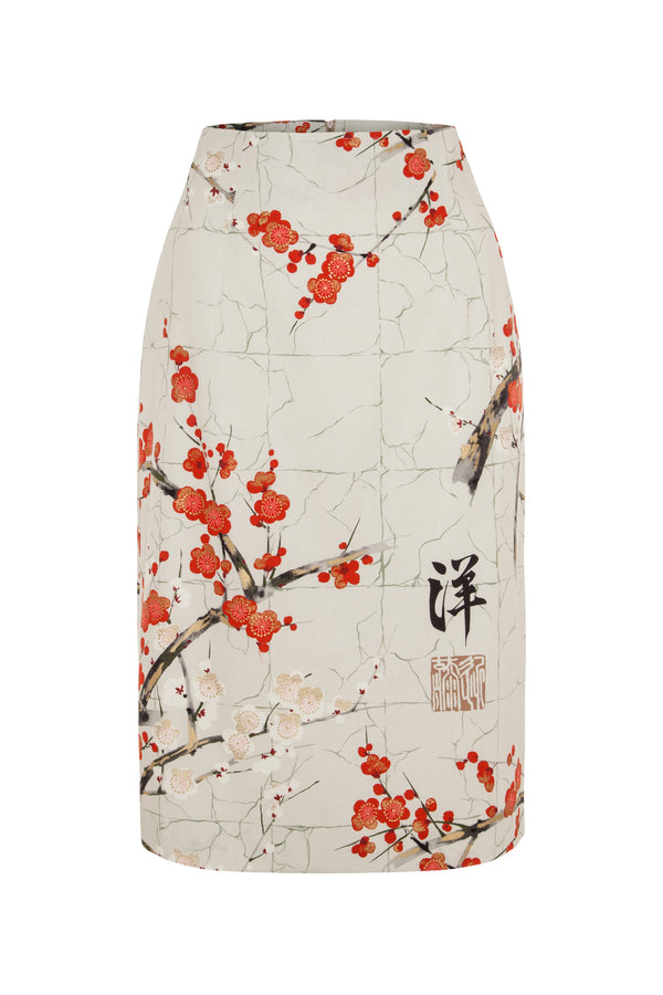 Pencil skirt with blossom print taupe