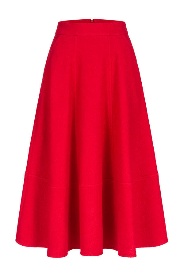 A-line skirt with wool-blend red
