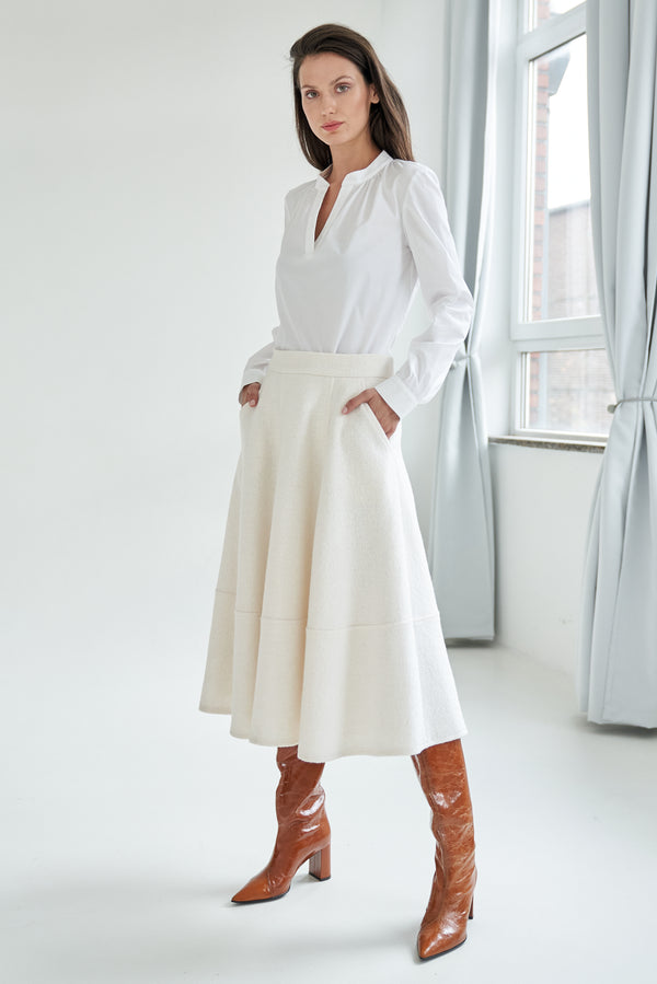 A-line skirt with wool-blend white