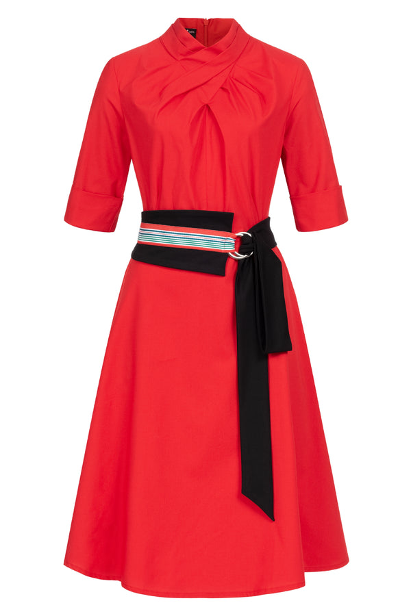 Franchesca Dress Red with Two Belts