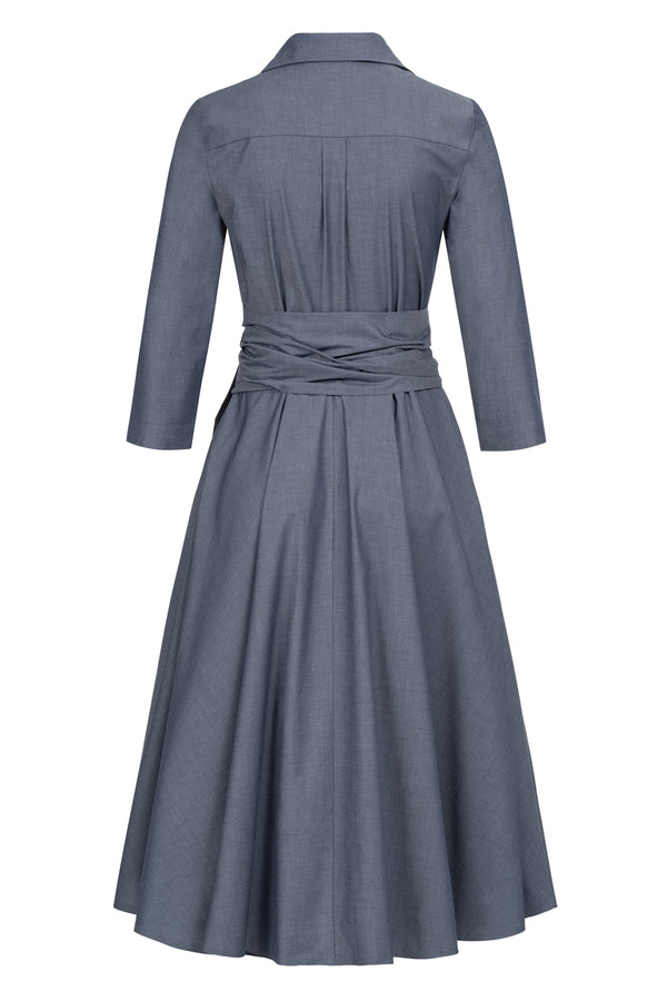 Shirtdress with tie belt blue